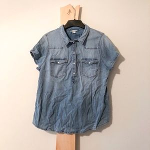 MAMA Maternity H&M Denim Button Up Shirt Top a